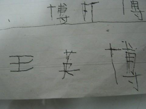特意找来正规的田字格,从笔画、 并告诉他如何在田字格中占格.