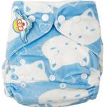 婴秀超柔按扣布尿裤(蓝色小猫)