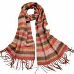 柏汇优品纯羊毛围巾特价促销款条纹桔黑色/赠羊毛兔毛手套一副