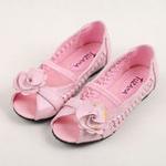 兔仔唛TUZAMA新款女童皮鞋编织玫瑰花公主鞋粉红29码