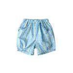童壹库女童梭织格布短裤KFCF035201湖水蓝/绿格120