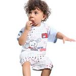 小素材男宝宝夏款满天星螺纹个性短袖套装4551/酒红色/80