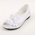 兔仔唛TUZAMA新款女童皮鞋编织玫瑰花公主鞋白色34码