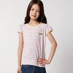 童壹库女童彩条T恤KTWE075201紫黄条140