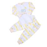 小素材纯棉条纹家居婴儿中领套装3957/黄色/110