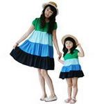 雪精灵亲子装连衣裙X2-1219蓝绿色/妈妈款L