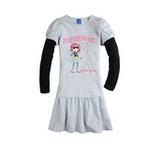 派克兰帝女童针织T恤式连衣裙LUWD55203浅灰120