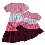 雪精灵亲子装连衣裙X2-1219粉紫色/宝宝款120