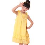 雪精灵女童雪纺项链连衣裙X2-Q001黄色/130
