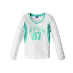 派克兰帝针织拼条长袖T恤LUWB3590白/绿160