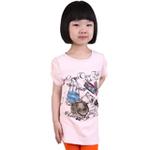 雪精灵女童短袖T恤X2-1209粉红色/130