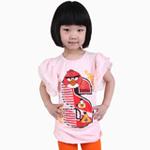 雪精灵女童短袖T恤X2-1206粉红色/120