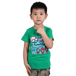 雪精灵男童短袖T恤X1-72002绿色/120