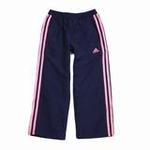 阿迪达斯/adidas秋季女童梭织长裤W63504都市蓝/极致荧光粉116