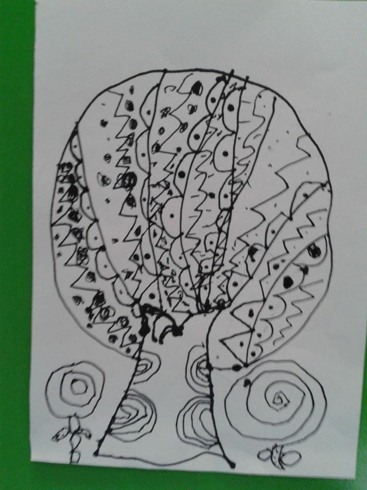 线描画 大树