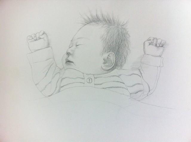 爸爸给宝宝画的素描肖像图片