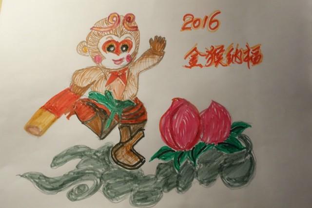 新年快乐 姥姥的简笔画